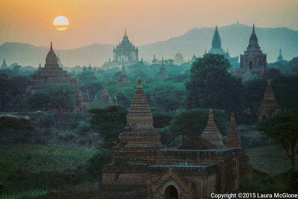 Bagan Temples at Sunset, Burma (Myanmar)