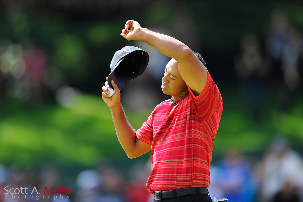 Tiger Woods in action during the final round of PGA Championship
