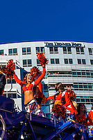 Broncos cheerleaders, Denver Broncos Super Bowl Victory Parade, Downtown Denver, Colorado USA.