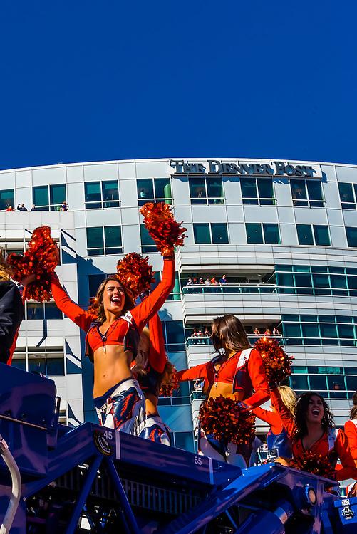 Broncos cheerleaders, Denver Broncos Super Bowl Victory Parade, Downtown Denver, Colorado USA.