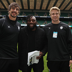 LONDON, ENGLAND - DECEMBER 01: Eben Etzebeth of the Barbarians with Tendai Beast Mtawarira of the Cell C Sharks and Pieter-Steph du Toit (Stormers & South Africa) of the Barbarians during the Killik Cup match between Barbarians and Argentina at Twickenham Stadium on December 01, 2018 in London, England. (Photo by Steve Haag/Gallo Images)