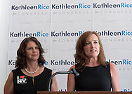 L-R, ANDREA MILLER, President of NARAL, Pro-Choice New York, endorses KATHLEEN RICE, Democratic candidate for Congress in New York's 4th Congressional District. The endorsement was announced during a joint press conference with Rice, Miller, and the Pres. of Planned Parenthood of Nassau County Action Fund, at the Rice Campaign Field Office. Rice is in her third term as Nassau County District Attorney, Long Island.