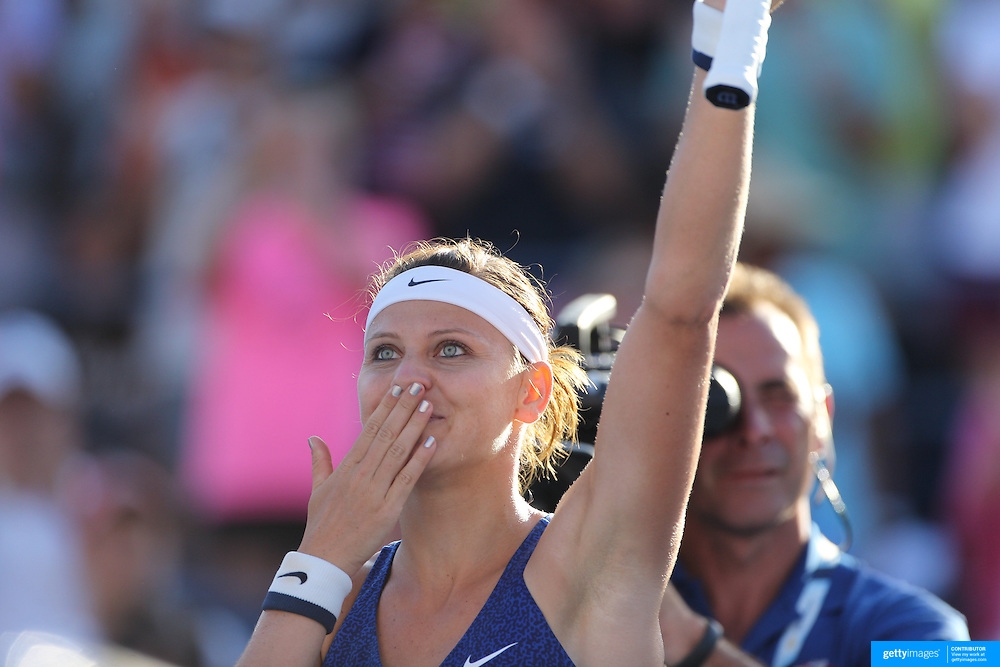 Lucie Safarova, Czech Republic, celebrates her victory over Alize Cornet, France, during the US Open Tennis Tournament, Flushing, New York, USA. 29th August 2014. Photo Tim Clayton