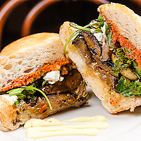 Grilled Eggplant<br /> with sun dried tomatoes, pesto, squash, goat cheese &amp; roasted garlic aioli on Ciabatta.<br /> Jimmy J's Cafe, 115 Chartres St. New Orleans, LA 70130