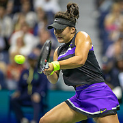 2019 US Open Tennis Tournament- Day Eleven.  Bianca Andreescu of Canada in action against Belinda Bencic of Switzerland in the Women's Singles Semi-Finals match on Arthur Ashe Stadium during the 2019 US Open Tennis Tournament at the USTA Billie Jean King National Tennis Center on September 5th, 2019 in Flushing, Queens, New York City.  (Photo by Tim Clayton/Corbis via Getty Images)