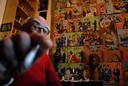 Roma, 07/10/2008: Andrea Camilleri fotografato nella sua abitazione studio.