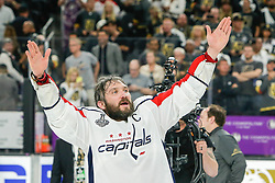 June 7, 2018: Washington Capitals left wing Alex Ovechkin (8) acknowledges Capitals fans after the Washington Capitals and Vegas Golden Knights NHL Stanley Cup Final playoff game 5 at T-Mobile Arena in Las Vegas, NV. John Crouch/CSM