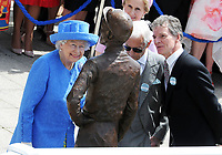 Flat Horse Racing - 2019 Investec Derby Festival - Saturday, Day Two (Derby Day)<br /> <br /> HRH The Queen arrives at the course to unveil  the Bronze Statue of Lester Piggott (also present - right) at Epsom Racecourse.<br /> <br /> COLORSPORT/ANDREW COWIE