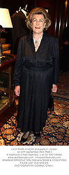 LADY PAMELA HICKS at a party in London on 24th September 2003.PNB 3
