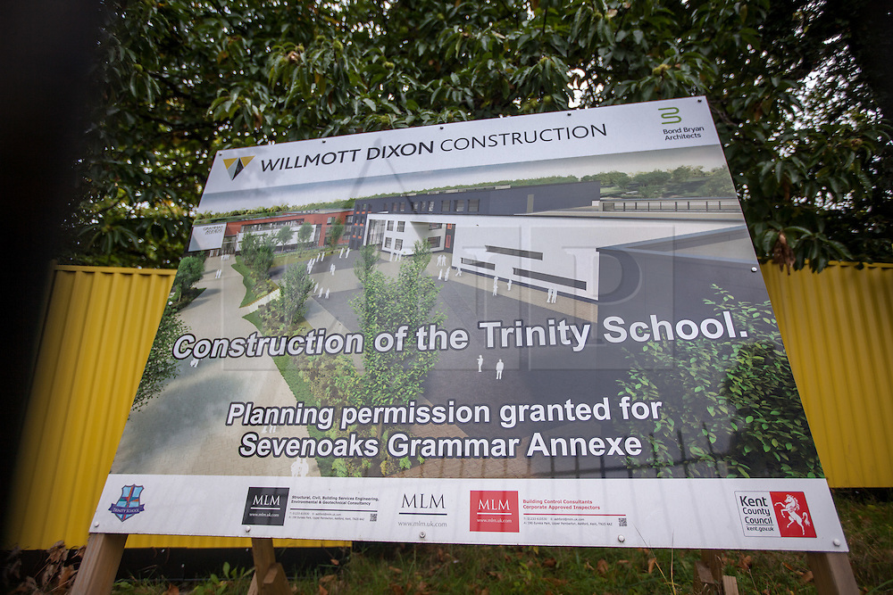 """@Licensed to London News Pictures 15/10/15. Sevenoaks, Kent. Site location in Sevenoaks, Kent for the first grammar school to be built in England for 50 years. The Weald of Kent school in Tonbridge is to open this site as an """"annexe"""" and will be named the Trinity School. Photo credit: Manu Palomeque/LNP"""