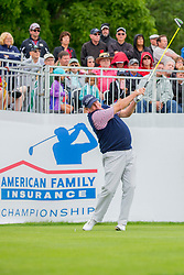 June 22, 2018 - Madison, WI, U.S. - MADISON, WI - JUNE 22: Scott Hoch tees off on the first tee during the American Family Insurance Championship Champions Tour golf tournament on June 22, 2018 at University Ridge Golf Course in Madison, WI. (Photo by Lawrence Iles/Icon Sportswire) (Credit Image: © Lawrence Iles/Icon SMI via ZUMA Press)