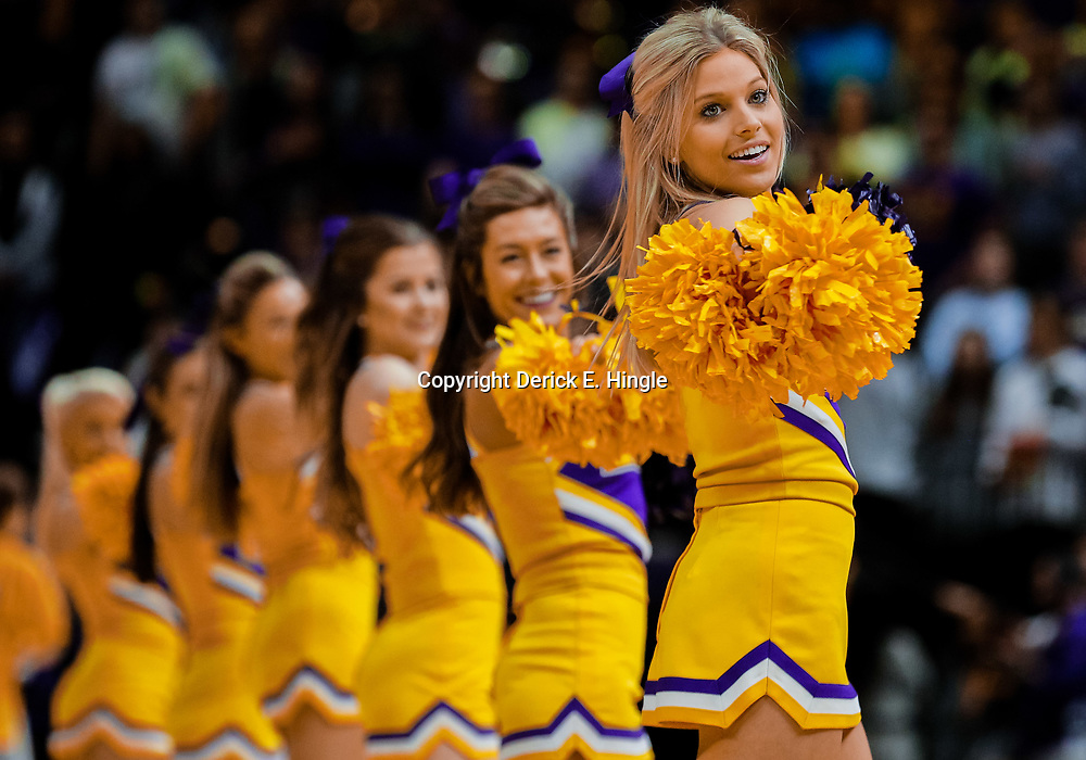 Jan 13, 2018; Baton Rouge, LA, USA; LSU Tigers cheerleaders perform during the second half against the Alabama Crimson Tide at the Pete Maravich Assembly Center. Alabama defeated LSU 74-66.  Mandatory Credit: Derick E. Hingle-USA TODAY Sports