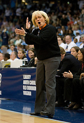 Virginia head coach Debbie Ryan argues a call from the UVA bench.  The #11 ranked / #5 seed Old Dominion Lady Monarchs defeated the #24 ranked / #4 seed Virginia Cavaliers 88-85 in overtime in the second round of the 2008 NCAA Women's Basketball Championship at the Ted Constant Convocation Center in Norfolk, VA on March 25, 2008.