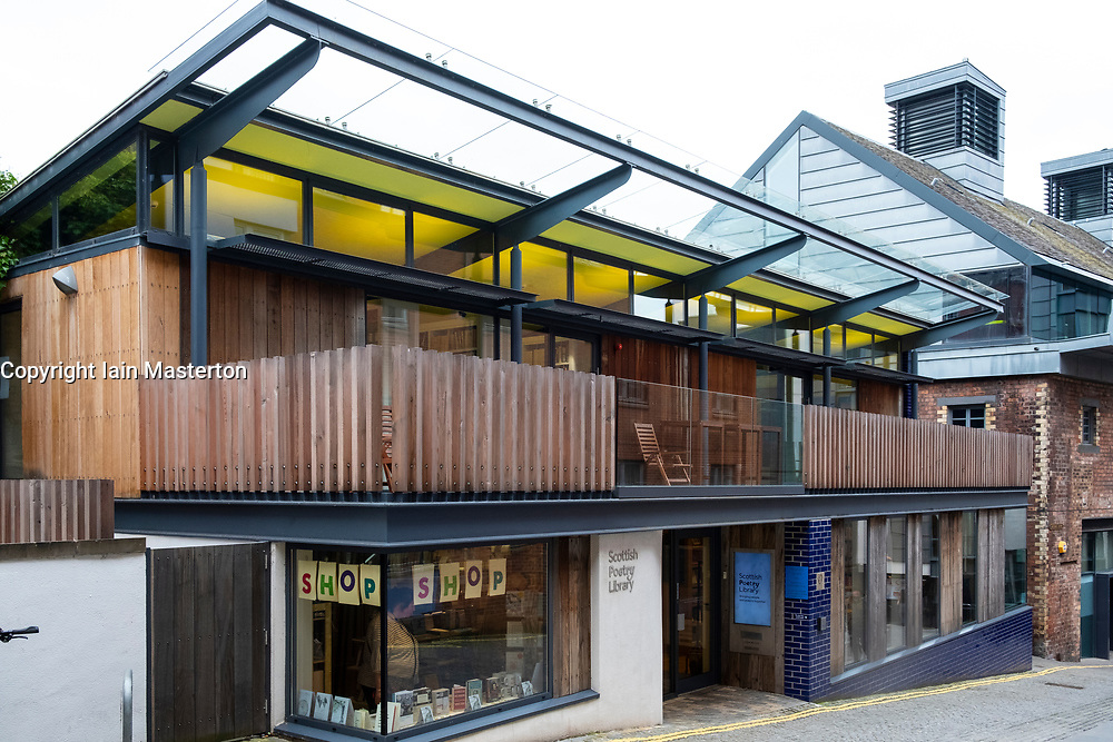 Exterior view of the Scottish Poetry Library in Old Town Edinburgh, Scotland, UK