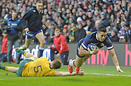 No Sales, Syndication or Archive <br /> <br /> Autumn Tests<br /> Scotland v Australia Saturday 25th November 2017, BT Murrayfield, Edinburgh.<br /> <br /> Sean Maitland of Scotland scores in he corner for Scotland's 3rd try<br /> <br /> <br />  Neil Hanna Photography<br /> www.neilhannaphotography.co.uk<br /> 07702 246823