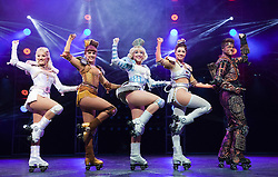 "© Licensed to London News Pictures. 11/05/2012. London, England. Kristofer Harding as Rusty with Camilla Hardy as Buffy, Ruthie Stephens as Dinah, Kelsey Cobban as Duvay and Amanda Coutts as Pearl. Andrew Lloyd Webber's rock musical ""Starlight Express"" opens at the New Wimbledon Theatre with a new cast before embarking on a UK tour. Choreography by Arlene Phillips. With Kristofer Harding as Rusty, Mykal Rand as Electra, Lothair Eaton as Poppa, Amanda Coutts as Pearl, Ruthie Stephens as Dinah, Kelsey Cobban as Duffy, Camilla Hardy as Buffy and Jamie Capewell as Greaseball. Photo credit: Bettina Strenske/LNP"