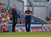 Dean Smith Head Coach of Brentford and Blackburn Rovers Manager Tony Mowbray during the EFL Sky Bet Championship match between Blackburn Rovers and Brentford at Ewood Park, Blackburn, England on 25 August 2018.