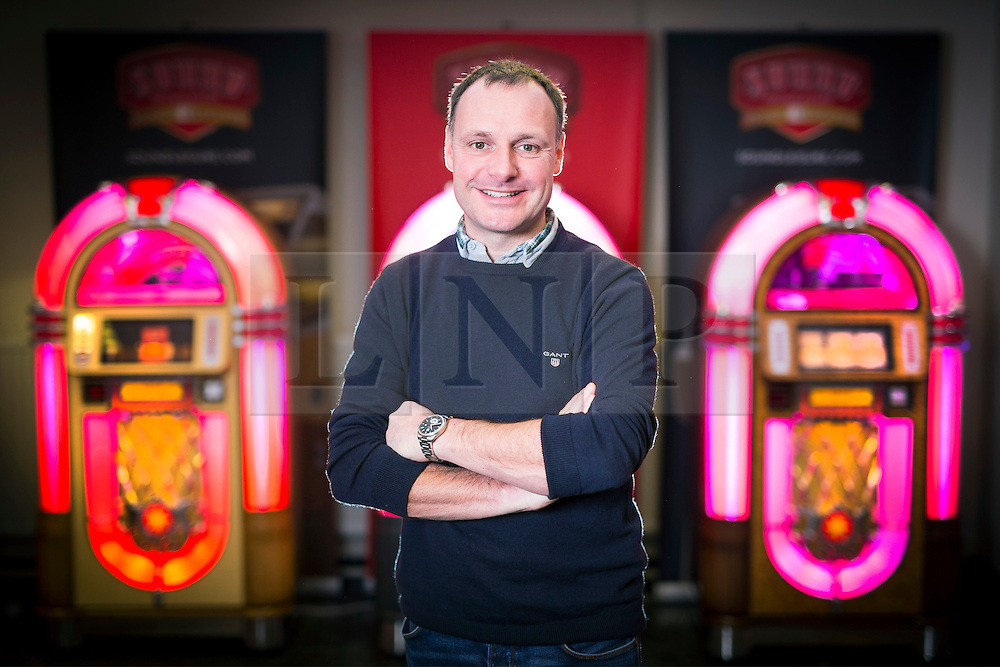 """© Licensed to London News Pictures. 27/11/2016. Leeds UK. Picture shows MD of sound Leisure who have produced the Rocket jukebox, the only vinyl playing jukebox being produced in the world. A resurgence in the popularity of Vinyl has prompted Leeds based Jukebox manufacturer Sound Leisure to build a new Vinyl playing Jukebox called the Rocket making them the only company in the world building a jukebox that play's vinyl record's. The first of the new Jukeboxes have started to roll of the production line in Yorkshire at a cost of £8,000 & can play 140 songs. The Rocket hold's 70 7"""" record's on a rotating mechanism, has a D4 amplifier with a 60W output & a remote control. Demand for the Rocket is high with order's from across the globe. Photo credit: Andrew McCaren/LNP"""