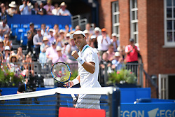 June 23, 2017 - London, United Kingdom - Gilles Muller of Luxembourg celebrates after winning the AEGON Championships 2017 quarter final at the Queen's Club, London on June 23, 2017. (Credit Image: © Alberto Pezzali/NurPhoto via ZUMA Press)