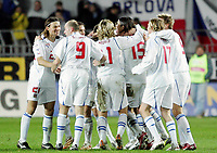 Fotball / Soccer<br /> Play off VM 2006 / Play off World Champio0nships 2006<br /> Tsjekkia v Norge 1-0<br /> Czech Republic v Norway 1-0<br /> Agg: 2-0<br /> 16.11.2005<br /> Foto: Morten Olsen, Digitalsport<br /> <br /> The Czech team celebrating their victory