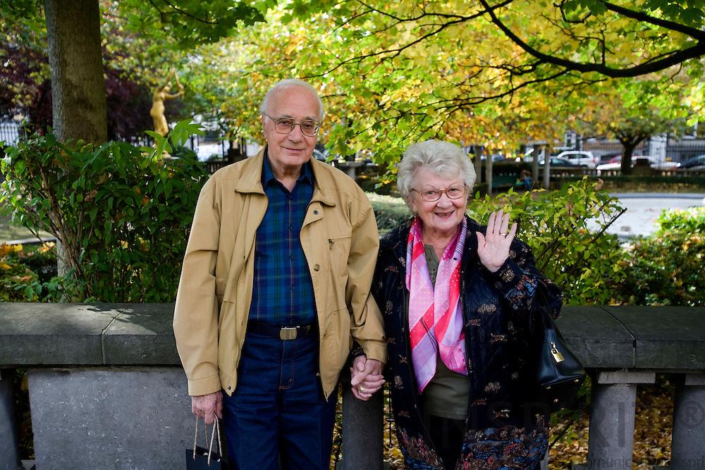 BRUSSELS - BELGIUM - 14 OCTOBER 2008 -- A elderly couple posing in a Brussels park. Photo: Erik Luntang.