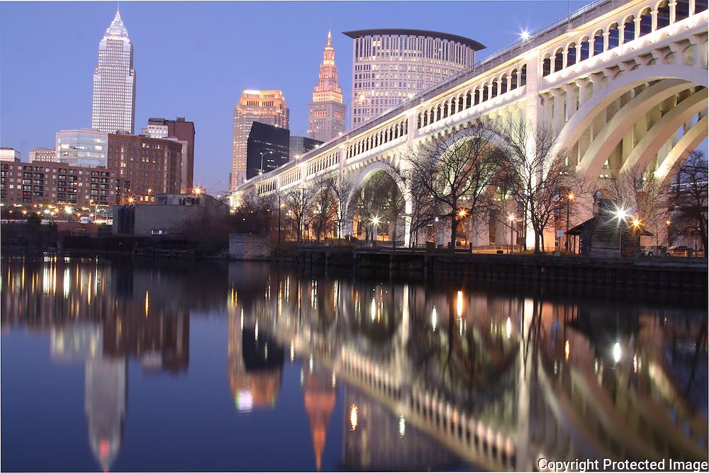 Cleveland skyline from Cuyahoga River at dusk
