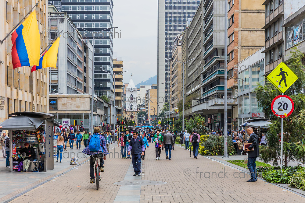 Bogota , Colombia  - February 23, 2017 : people walking Carrera Septima in Bogota capital city of Colombia South America