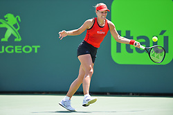 March 27, 2018 - Miami, FL, United States - KEY BISCAYNE, FL - March, 27: Angelique Kerber (GER) in action here, loses 16 26 to Sloane Stephens (USA) during day 9 of the 2018 Miami Open held at the Crandon Park Tennis Center on March 27, 2018 in in Key Biscayne, Florida.  (Photo Credit: Andrew Patron)   Credit: Andrew Patron/Zuma Wire (Credit Image: © Andrew Patron via ZUMA Wire)