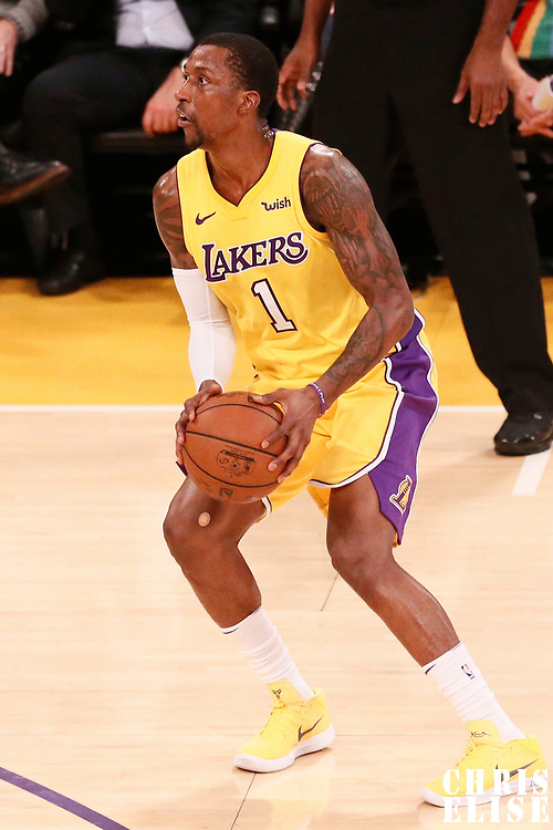 09 January 2018: Los Angeles Lakers guard Kentavious Caldwell-Pope (1) eyes the basket during the LA Lakers 99-86 victory over the Sacramento Kings, at the Staples Center, Los Angeles, California, USA.