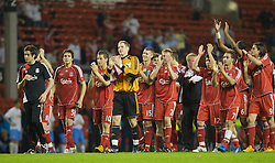 LIVERPOOL, ENGLAND - Wednesday, May 7, 2008: Liverpool players celebrate beating Aston Villa 3-0 during the play-off final of the FA Premier League Reserve League at Anfield. L-R: Ronald Huth, Krisztian Nemeth, goalkeeper Peter Gulacsi, Craig Lindfield, captain Stephen Darby, Daniel Pacheco, Nabil El Zhar, Damien Plessis, Jordy Brouwer.(Photo by David Tickle/Propaganda)