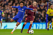 Chelsea midfielder Willian (22) during the Champions League match between Chelsea and Barcelona at Stamford Bridge, London, England on 20 February 2018. Picture by Martin Cole.