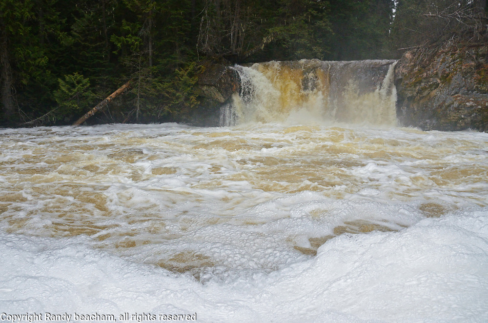 Waterfall on the West Fork Yaak River during spring runoff. Yaak Valley in the Purcell Mountains, northwest Montana.