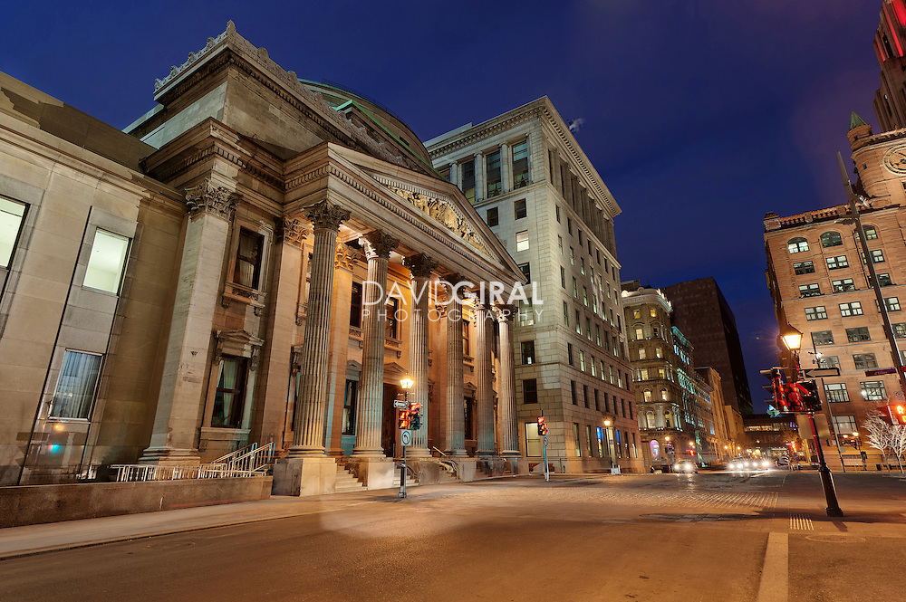 Picture of Place D'armes and Bank of Montreal building in Old Montreal taken at dusk in spring, , Montreal, Quebec, Canada
