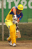Matthew Hayden of the Chennai Super Kings drives a delivery during the Superkings training session held at St Georges Park in Port Elizabeth on the 20 September 2010..Photo by: Shaun Roy/SPORTZPICS/CLT20