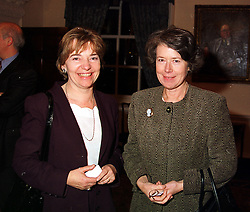 Left to right, MS.PATRICIA HODGSON (Mrs George Donaldson) Director of Policy at the BBC and DAME SUSAN TINSON, at a reception in London on 17th November 1999.MZF 83
