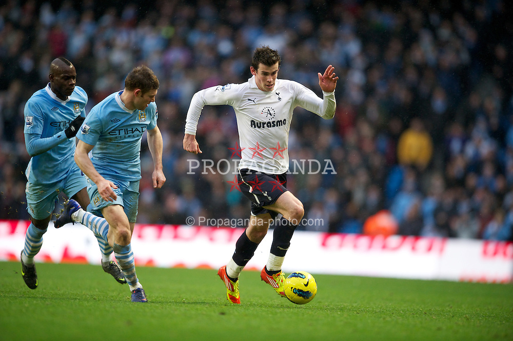 MANCHESTER, ENGLAND - Sunday, January 22, 2011: Tottenham Hotspur's Gareth Bale in action against Manchester City during the Premiership match at the City of Manchester Stadium. (Pic by David Rawcliffe/Propaganda)