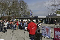 April 14, 2018 - FlöRsheim Am Main, Hesse, Germany - The counter protesters listen to a speaker. People from different political organisations and trade unions protested outside the municipal hall in Flörsheim am Main, against the party convention of the right-wing AfD party (Alternative for Germany) which was talking place inside with the selection of the candidates for the upcoming state election in Hesse. (Credit Image: © Michael Debets/Pacific Press via ZUMA Wire)