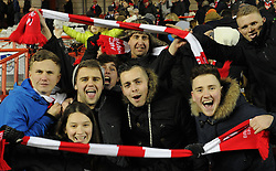 Bristol City supporters celebrate as the Robins knock-out Gillingham in the Johnstone's Paint Trophy south area final - Photo mandatory by-line: Paul Knight/JMP - Mobile: 07966 386802 - 29/01/2015 - SPORT - Football - Bristol - Ashton Gate Stadium - Bristol City v Gillingham - Johnstone's Paint Trophy