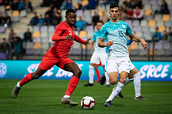 Edward Nketiah of England and Dušan Stojinovič of Slovenia  during friendly Football match between U21 national teams of Slovenia and England, on October 11, 2019 in Ljudski Vrt, Maribor, Slovenia. Photo by Blaž Weindorfer / Sportida