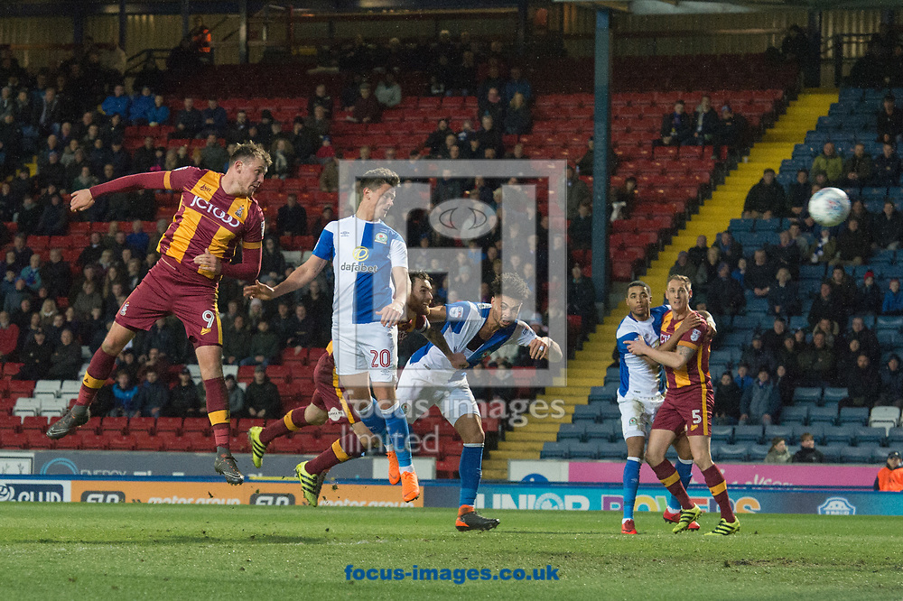 Marcus Antonsson of Blackburn Rovers (2nd from left) with a header on goal during the Sky Bet League 1 match at Ewood Park, Blackburn<br /> Picture by Matt Wilkinson/Focus Images Ltd 07814 960751<br /> 29/03/2018