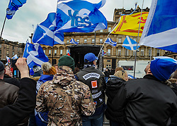 Rally for second Scottish independence date. Hope Over Fear held a rally calling for the Scottish Government to announce a date for a second independence referendum at George Square in Glasgow. Speakers included Tommy Sheridan a ride past by the group Bikers for Independence.<br /> <br /> &copy; Dave Johnston / EEm