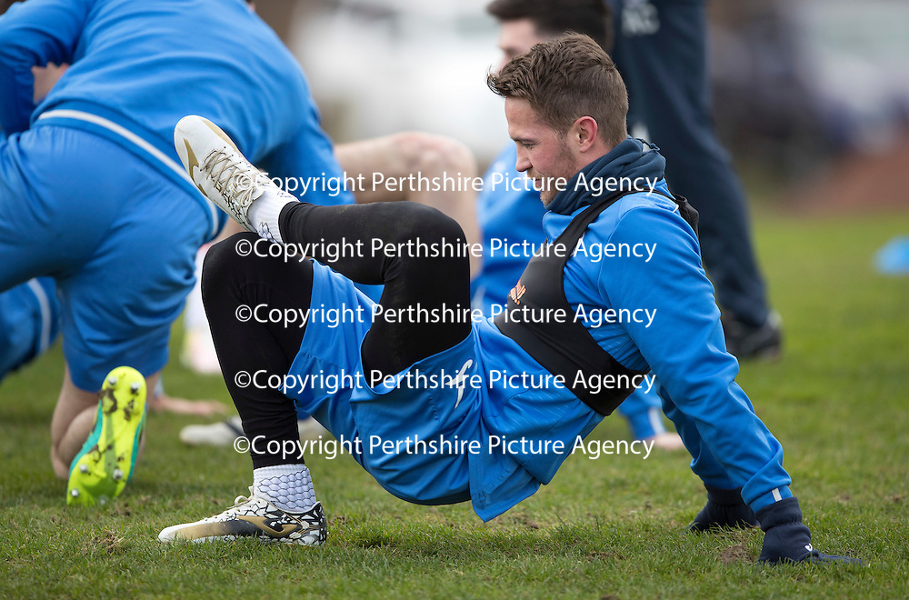 St Johnstone Training&hellip;30.12.16<br />Chris Millar pictured during training this morning ahead of tomorrow&rsquo;s game against Dundee<br />Picture by Graeme Hart.<br />Copyright Perthshire Picture Agency<br />Tel: 01738 623350  Mobile: 07990 594431