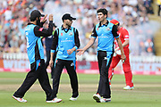 Worcestershire Rapids Moeen Ali congratulates Worcestershire Rapids Pat Brown during the Vitality T20 Finals Day semi final 2018 match between Worcestershire Rapids and Lancashire Lightning at Edgbaston, Birmingham, United Kingdom on 15 September 2018.
