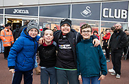 Ospreys fans before the match<br /> <br /> Photographer Simon King/Replay Images<br /> <br /> Guinness PRO14 Round 19 - Ospreys v Connacht - Friday 6th April 2018 - Liberty Stadium - Swansea<br /> <br /> World Copyright &copy; Replay Images . All rights reserved. info@replayimages.co.uk - http://replayimages.co.uk