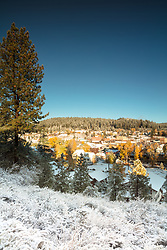 """Downtown Truckee 39"" - Photograph of Historic Downtown Truckee with Fall colors and a little fresh snow."
