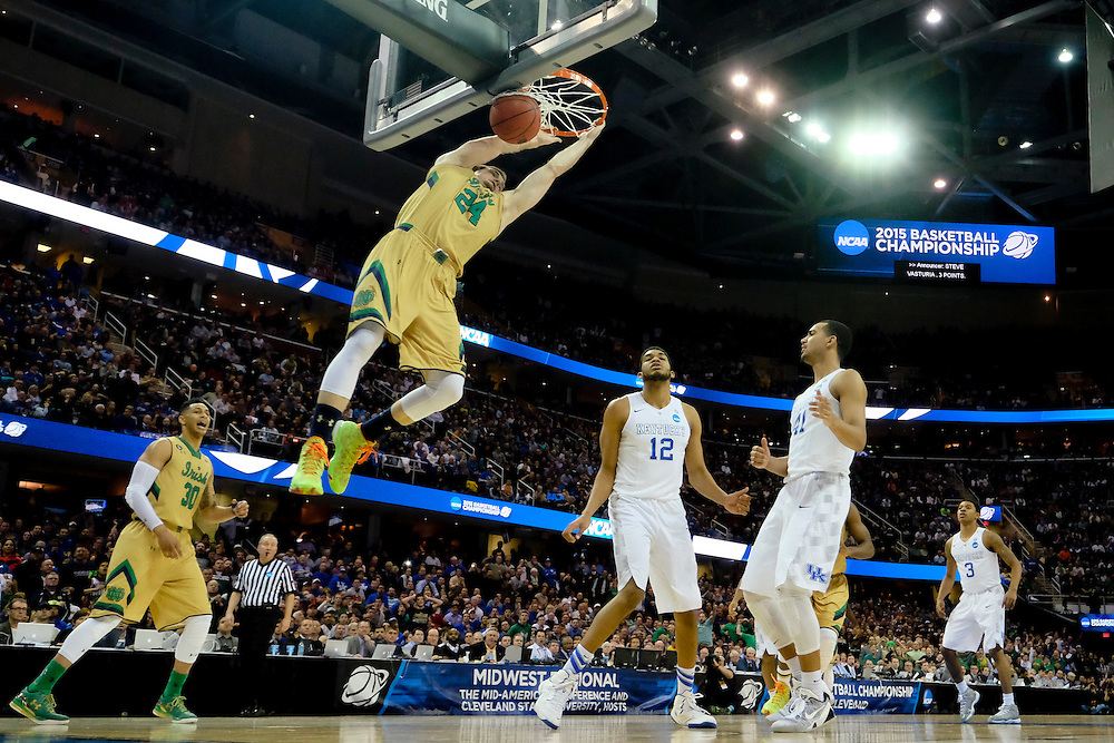 Mar 28, 2015; Cleveland, OH, USA; Notre Dame Fighting Irish guard/forward Pat Connaughton (24) dunks against the Kentucky Wildcats in the finals of the midwest regional of the 2015 NCAA Tournament at Quicken Loans Arena. Mandatory Credit: Rick Osentoski-USA TODAY Sports