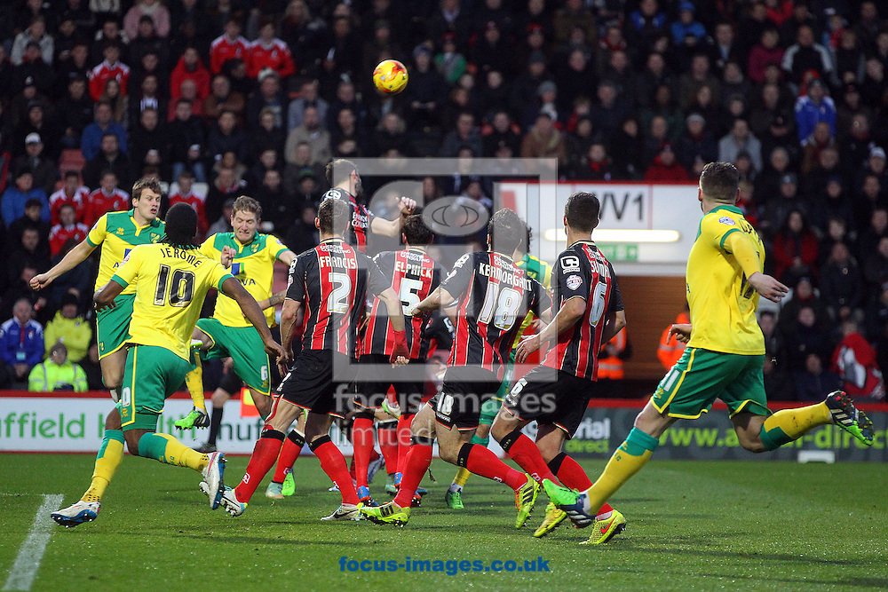 Michael Turner of Norwich heads the ball back across the box during the match at the Goldsands Stadium, Bournemouth<br /> Picture by Paul Chesterton/Focus Images Ltd +44 7904 640267<br /> 10/01/2015