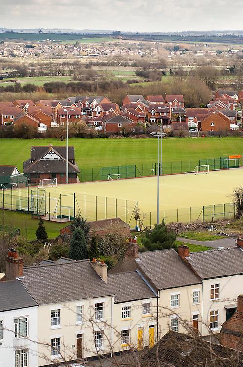 Housing development and sports ground, Mountsorrel, England, UK.