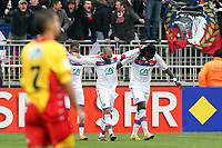 FOOTBALL - FRENCH CUP 2011/2012 - 1/32 FINAL - LYON DUCHERE v OLYMPIQUE LYONNAIS - 8/01/2012 - PHOTO EDDY LEMAISTRE / DPPI - JOY OF LISANDRO LOPEZ AFTER HIS GOAL, WITH JIMMY BRIAND  AND BAFE GOMIS (OL)