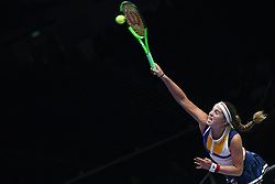 SINGAPORE, Oct. 26, 2017  Jelena Ostapenko of Latvia competes during the match against Karolina Pliskova of the Czech Republic at the WTA Finals tennis tournament in Singapore, on Oct. 26, 2017. (Credit Image: © Then Chih Wey/Xinhua via ZUMA Wire)